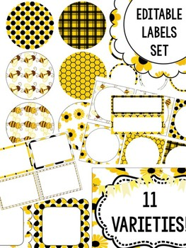 FREEBIE : Editable Labels Set : Busy Bee SET 2, Bees, tags, signs