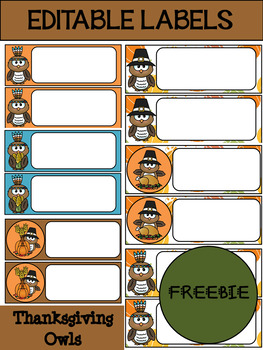 FREEBIE: Editable Labels and Name Plates : Thanksgiving Owls