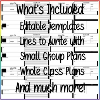 FREEBIE- Editable Lesson Planning Templates