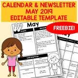 FREEBIE - Editable May 2019 Newsletter & Calendar