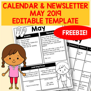 FREEBIE - Editable May 2019 Newsletter & Calendar