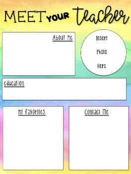 FREEBIE |  Editable Meet the Teacher Letter |  Rainbow Watercolor