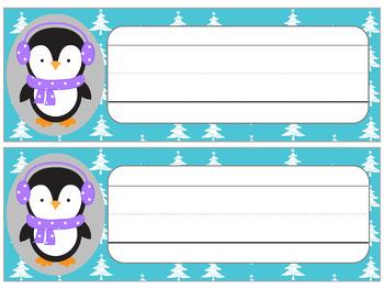 FREEBIE : Editable Name Plates : Cute Penguins