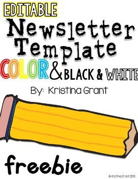 free editable newsletter template color and black white by