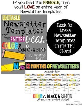 FREE Editable Newsletter Template {color and black & white}