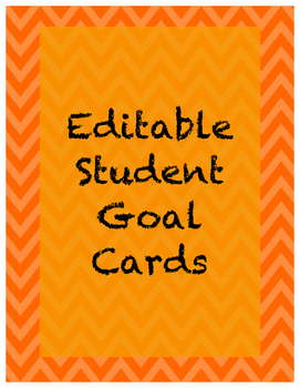 FREEBIE! Editable Student Goal Cards