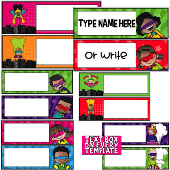 FREEBIE- Editable Superhero Nameplates