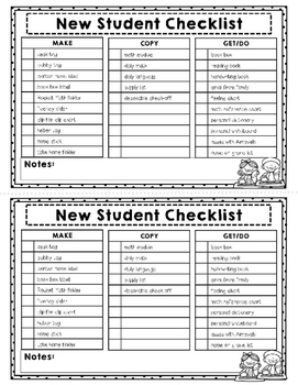 FREEBIE  Editable TEACHER Check List NEW STUDENT