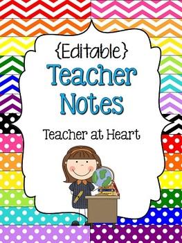 FREEBIE - {Editable} Teacher Notes!