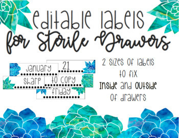 FREEBIE! EDITABLE Watercolor Blue and Green Floral Sterile Drawers Labels