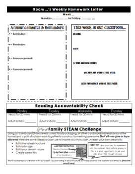 FREEBIE Editable Weekly Classroom Newsletter with STEAM Family Activity
