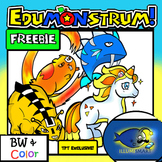 FREEBIE! Edumonstrum ORIGINAL Anime Monster Clip-Art Set! 8 Pc./BW and Color!