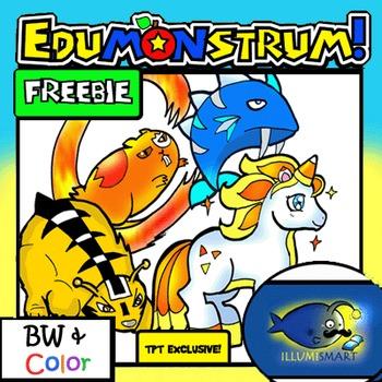 FREEBIE! Edumonstrum ORIGINAL Anime Monster Clip-Art Set! 8 Pc./BW and Color!