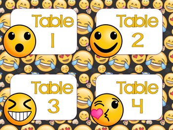 FREEBIE Emoji Classroom Decor Table Numbers
