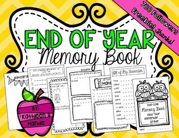 {FREEBIE} End of Year Memory Book