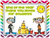 FREEBIE End of the Year Thank You Notes for Students