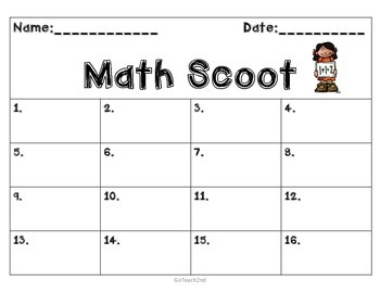 FREEBIE- Engage NY -SCOOT answer sheet to go with my Engage Math Centers