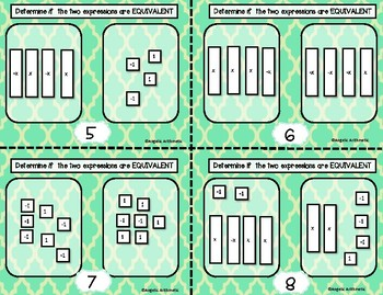 FREEBIE!! Equivalent Expressions with Algebra Tiles