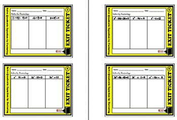 Exit Ticket - Solve Quadratic equation by Factoring