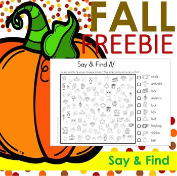 FREEBIE! FALL Say & Find NO PREP PRINT & GO Articulation Activity