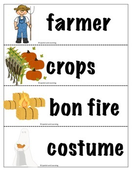 FREEBIE FALL VOCABULARY CARDS
