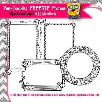 FREEBIE FRAMES Zen-Doodles Black and White Clipart