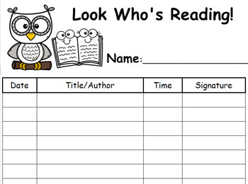 photograph relating to Printable Reading Logs With Parent Signature titled FREEBIE! FREEBIE! Back again In direction of College or university! PRINTABLE Owl Studying Log