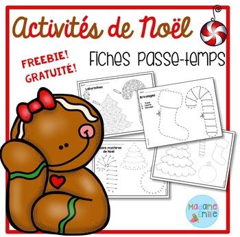 FREEBIE FRENCH Christmas printables/activités pour Noël (gratuit)