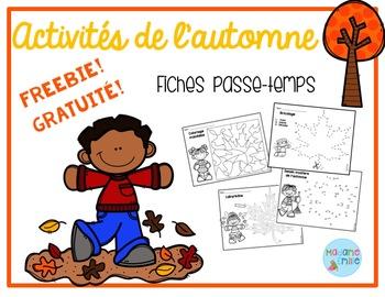 FREEBIE FRENCH Fall printables/activités pour l'automne (gratuit)