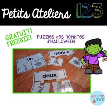 FREEBIE FRENCH Halloween123 Center/ Atelier 123(Puzzles Halloween)