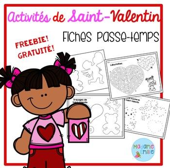 FREEBIE FRENCH Valentine's day printables/activités de St-Valentin (gratuit)