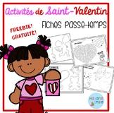 FREEBIE FRENCH Valentine's day printables/activités de St-