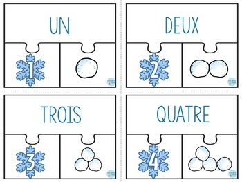FREEBIE FRENCH Winter 123 Center/ Atelier 123(Puzzles de l'hiver)