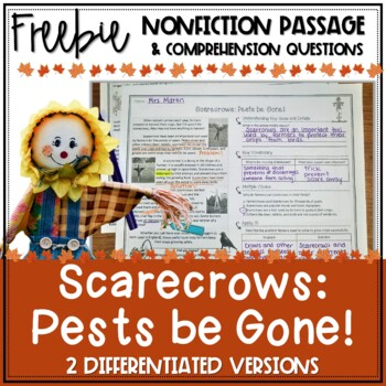 FREEBIE: Fall Differentiated Nonfiction Reading Passage: Scarecrows