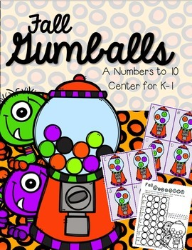FREEBIE--Fall Gumball Math Center--Numbers to 10 for K-1