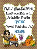 FREEBIE Fall/Thanksgiving Sound Loaded Pictures for Artic. Vowel Controlled /r/
