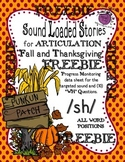 FREEBIE Fall/Thanksgiving Sound Loaded Stories for Articulation WH ?  ~SH~