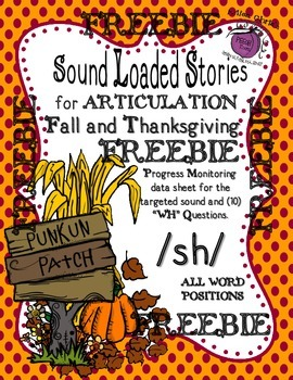 FREEBIE Fall/Thanksgiving Sound Loaded Stories for Articul
