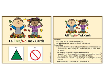 FREE Fall Yes/No Task Cards (AAC) For students with Autism and Complex Needs