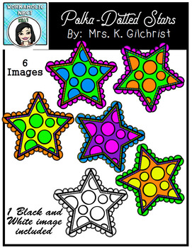 FREE Fancy Polka-Dotted Stars Clip Art Set