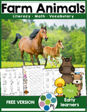 Farm Animals Vocabulary, Math and Literacy Unit FREEBIE