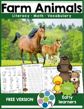 FREEBIE Farm Animals Vocabulary, Math and Literacy Unit Sample