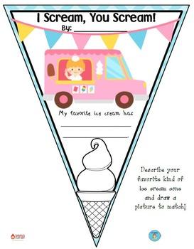 FREEBIE Favorite Ice Cream Pennant Banner Worksheet