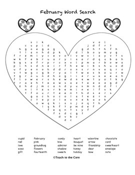 FREE! February Word Search, Coloring Pages, and More!