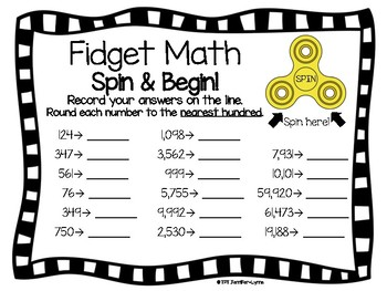 FREEBIE Fidget Spinner Math Activity