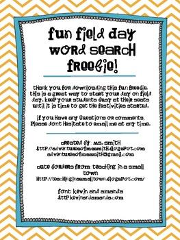 FREEBIE: Field Day Word Search