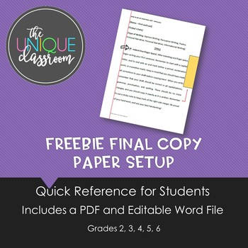 FREEBIE Final Copy Paper Set Up
