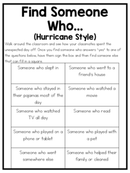 FREEBIE Find Someone Who... Hurricane Style