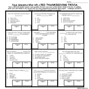 FREEBIE! Thanksgiving Trivia - Find Someone Who