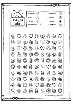 FREE Find and color St Valentine ENGLISH I SPY